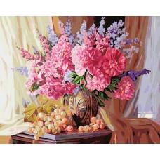 Виноградно-пионовое живопись на холсте 40*50см 40х50 Белоснежка 143-AB