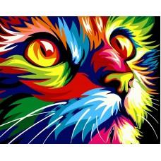 Разноцветный кот живопись на холсте 40х50см