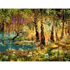 Утро в лесу живопись на холсте 30*40см