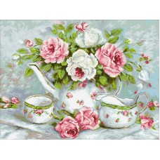 Розовый чай набор для выкладывания стразами 60х45 Паутинка М-258