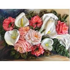 Набор Каллы с розами вышивка лентми 24,8х33,2 Каролинка КЛ(Н)-3035