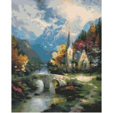 Горный пейзаж с церквушкой живопись на холсте 40х50
