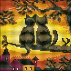 Две Кошки Мозаика на подрамнике 20х20 20х20 Белоснежка 016-ST-S