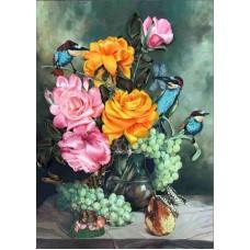 Набор Цветочный нектар вышивка лентами 26,5х34 Каролинка КЛ(Н)-3010