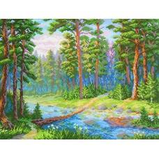 Лесная речка Рисунок на канве 40х50см 30х40(40х50) МП-Студия СК-070