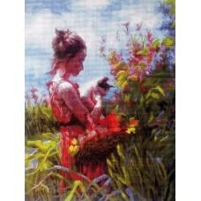 Девушка с котенком мозаика на подрамнике 40х50 40х50 Painting Diamond GF3038