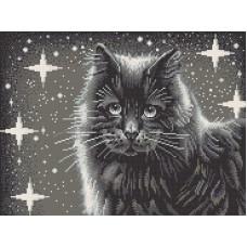 Черный кот рисунок на канве 29/39 29х39 Конек 7803