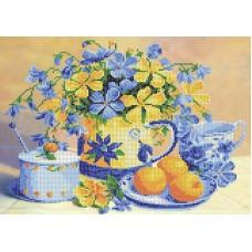 Натюрморт с персиками Рисунок на ткани 27х35,5 Каролинка ТКБЦ 3055