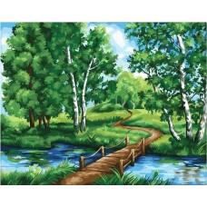 Деревянный мостик живопись на холсте 40х50см