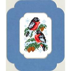 Снегири Набор для вышивания с бисером и паспарту 13х18 (7х10) Матренин Посад 0052/БП