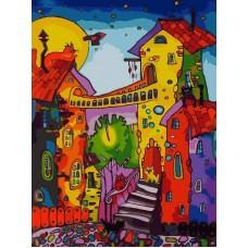 Цветные коты живопись на холсте 30*40см 30х40 Белоснежка 104-AS