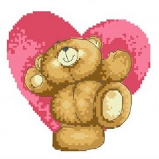 Набор Мишка и сердце канва с рисунком 17х17 Каролинка КТКН 019 (Р)