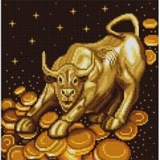 Бычок богатства Рисунок на сатене (25х25)