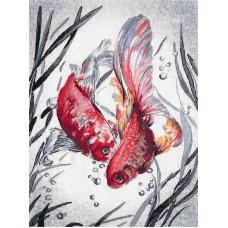 Золотые рыбки набор диз.канва+мулине 27х39 Овен РК-018