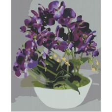 Фиолетовая орхидея живопись на холсте 40х50