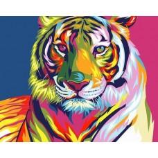 Радужный тигр живопись на холсте 40х50см 40х50 Paintboy GX9203