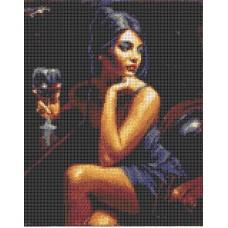Девушка с бокалом Рисунок на канве 23х30 Каролинка КК 049