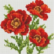 Красные маки Мозаика на подрамнике 20х20 20х20 Белоснежка 322-ST-S
