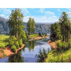 Проточная река живопись на холсте 40х50см