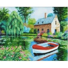 Дом у пруда мозаика на подрамнике 40х50 40х50 Painting Diamond GF1493