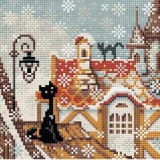 Город и кошки. Зима набор для выкладывания стразами 20х20 Риолис АМ0010