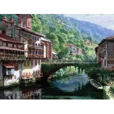 Древний мост через Нив живопись на холсте 40*50см 40х50 Белоснежка 632-AB