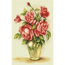 Ваза красных роз набор для выкладывания стразами 50х60 Jing Cai Ge Diamond Painting DIY (Honey Home) 7439