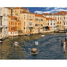 Город на воде живопись на холсте 40х50см