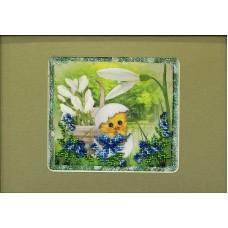 Пасхальная картинка 1 Набор для вышивания с бисером и паспарту