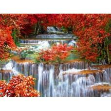 Осенний водопад живопись на холсте 40х50см