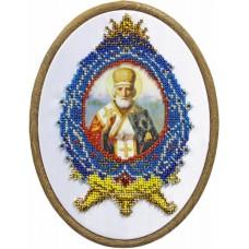 Святой Николай Чудотворец Набор для вышивания с бисером и пяльца 24х26 (11х16) Матренин Посад 0097/БП
