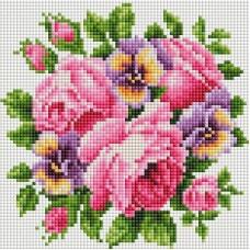 Розы и анютины глазки Мозаика на подрамнике 20х20 20х20 Белоснежка 276-ST-S