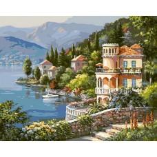 Вилла на берегу озера живопись на холсте 40*50см 40х50 Белоснежка 361-CG