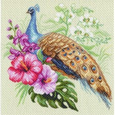 Павлин в цветах Рисунок на канве 41/41 41х41 (34х34) Матренин Посад 1726