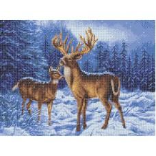 Набор Олени в зимнем лесу счетный крест