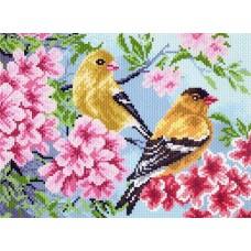 Птицы в саду Набор для вышивания бисер-нитки 28х37 (17х23) Матренин Посад 0011/БН