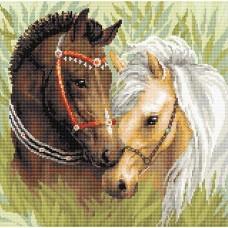 Пара лошадей набор для выкладывания стразами 40х40 Риолис АМ0039