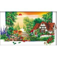 Домик в деревне 2 набор для частичной  выкладки стразами 38,5х56 Солнце F-3081