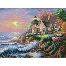 Маяк на побережье набор для выкладывания стразами 49х38,5 Jing Cai Ge Diamond Painting DIY (Honey Home) 1563