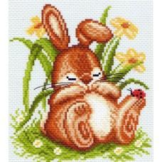 Спящий кролик Набор для вышивания крестом 28х37 (14х15) Матренин Посад 1059/Н-1