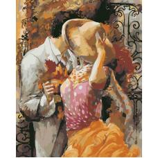 Поцелуй живопись на холсте 40х50