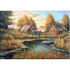 Осень в деревне Набор для вышивания крестом 28х37 (23х32) Матренин Посад 1872/Н