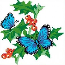 Набор Бабочки на смородине канва с рисунком 14,7х13,5 Каролинка КТКН 013 (Р)