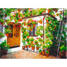 Стена с цветочками живопись на холсте 30х40