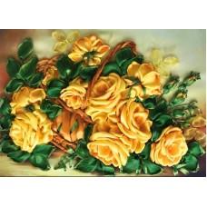 Набор Желтые розы вышивка лентами 25х32,5 Каролинка КЛ(Н)-3030