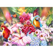 Цветущие тропики Рисунок на шелке 37/49 37х49 (28х38) Матренин Посад 4176
