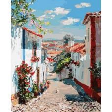Улочка в португальском посёлке живопись на холсте 40*50см 40х50 Белоснежка 121-AB