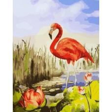 Красный фламинго живопись на холсте 40х50см