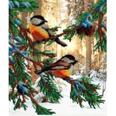 Птички в лесу набор габардин+бисер 28х35 МП-Студия БГ-233