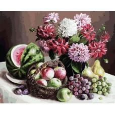 Георгины и фрукты  живопись на холсте 40*50см 40х50 Белоснежка 172-AB